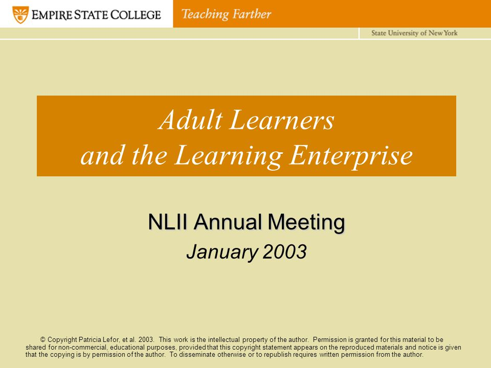Adult Learners and the Learning Enterprise NLII Annual Meeting January 2003 © Copyright Patricia Lefor, et al. 2003. This work is the intellectual pro