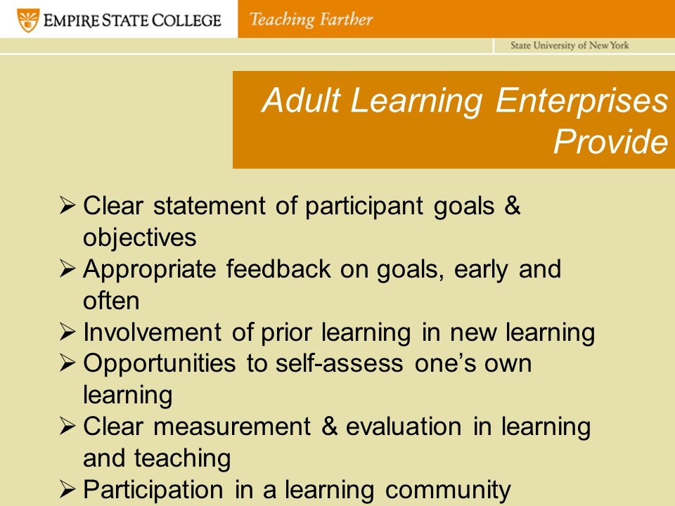 Adult Learning Enterprises Provide  Clear statement of participant goals & objectives  Appropriate feedback on goals, early and often  Involvement