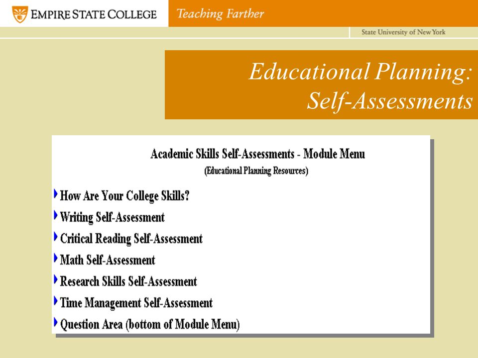 Educational Planning: Self-Assessments