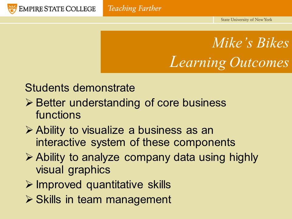 Mike's Bikes L earning Outcomes Students demonstrate  Better understanding of core business functions  Ability to visualize a business as an interactive system of these components  Ability to analyze company data using highly visual graphics  Improved quantitative skills  Skills in team management