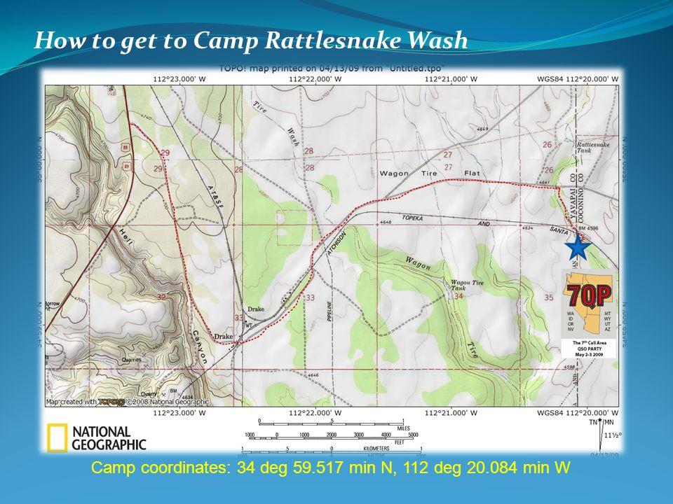How to get to Camp Rattlesnake Wash Camp coordinates: 34 deg 59.517 min N, 112 deg 20.084 min W
