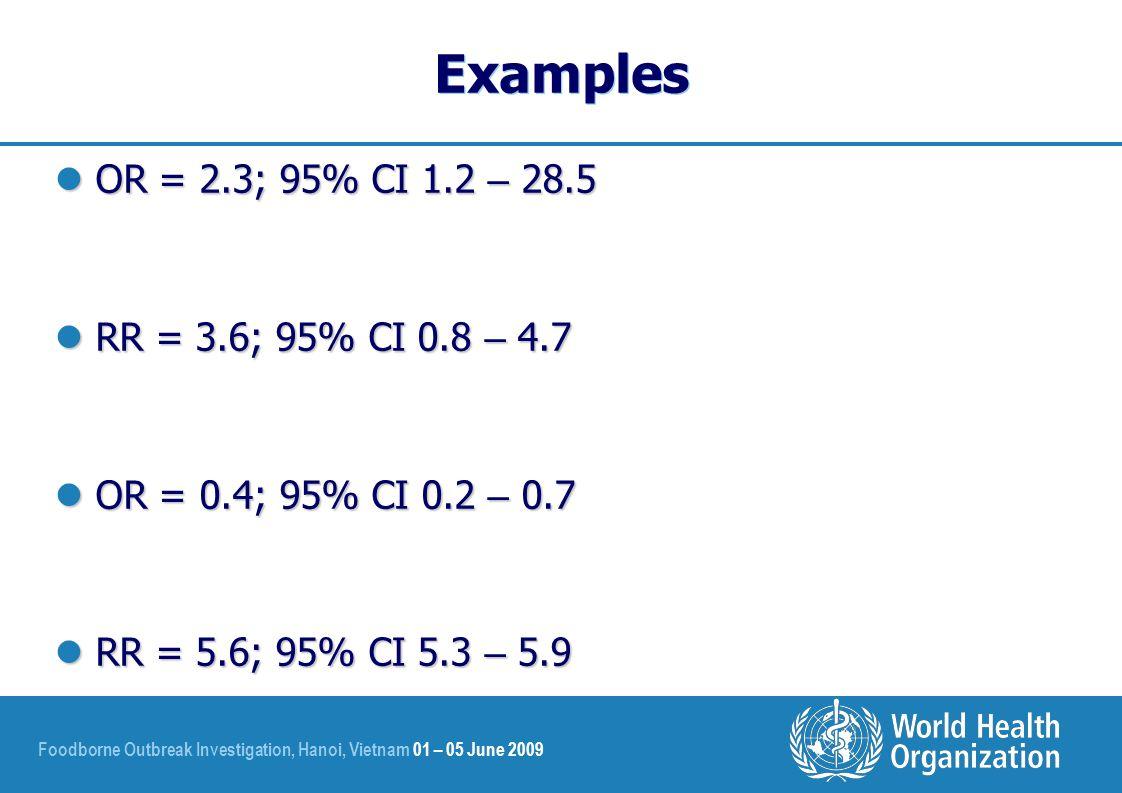 Foodborne Outbreak Investigation, Hanoi, Vietnam 01 – 05 June 2009 Examples OR = 2.3; 95% CI 1.2 – 28.5 OR = 2.3; 95% CI 1.2 – 28.5 RR = 3.6; 95% CI 0.8 – 4.7 RR = 3.6; 95% CI 0.8 – 4.7 OR = 0.4; 95% CI 0.2 – 0.7 OR = 0.4; 95% CI 0.2 – 0.7 RR = 5.6; 95% CI 5.3 – 5.9 RR = 5.6; 95% CI 5.3 – 5.9