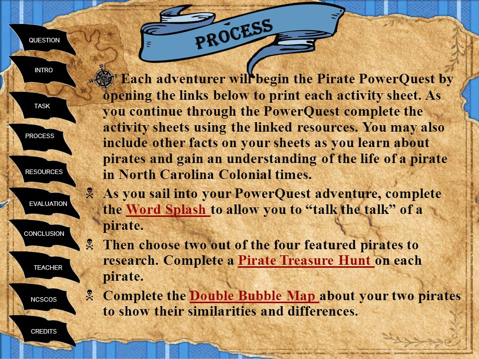 INTRO TASK RESOURCES PROCESS EVALUATION CONCLUSION TEACHER NCSCOS CREDITS QUESTION Process Each adventurer will begin the Pirate PowerQuest by opening