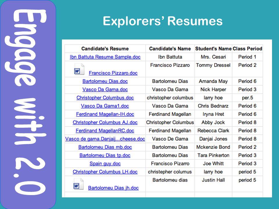 Explorers' Resumes