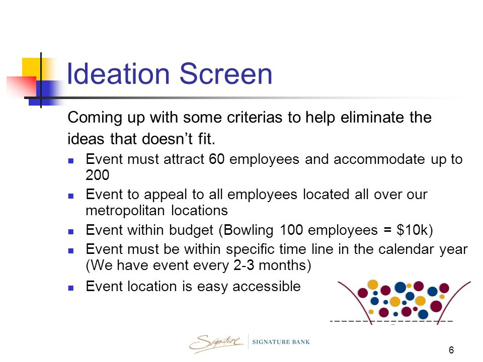 6 Ideation Screen Coming up with some criterias to help eliminate the ideas that doesn't fit.