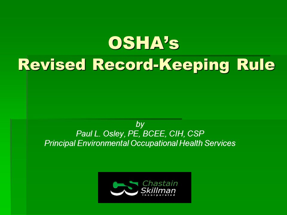 OSHA's Revised Record-Keeping Rule by Paul L.
