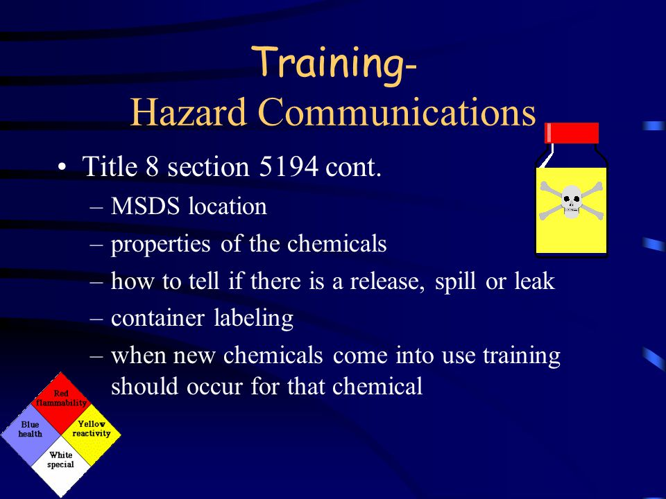 Training - Hazard Communications Title 8 section 5194 cont. Employees have the right to know –requirements of the standard –job tasks that may cause t