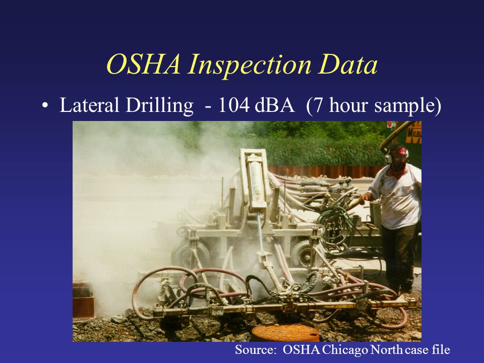 OSHA Inspection Data Lateral Drilling - 104 dBA (7 hour sample) Source: OSHA Chicago North case file