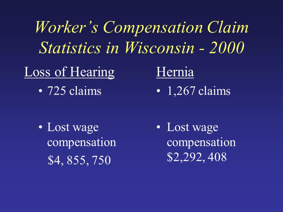 Worker's Compensation Claim Statistics in Wisconsin - 2000 Loss of Hearing 725 claims Lost wage compensation $4, 855, 750 Hernia 1,267 claims Lost wage compensation $2,292, 408