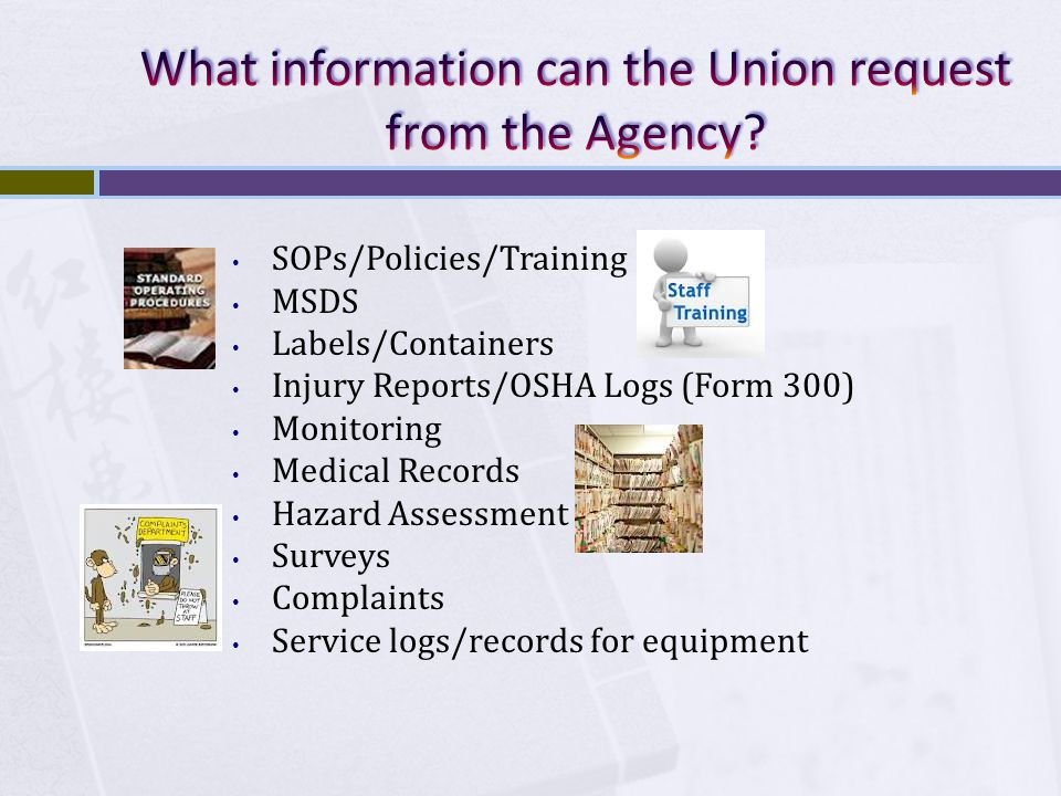 SOPs/Policies/Training MSDS Labels/Containers Injury Reports/OSHA Logs (Form 300) Monitoring Medical Records Hazard Assessment Surveys Complaints Service logs/records for equipment