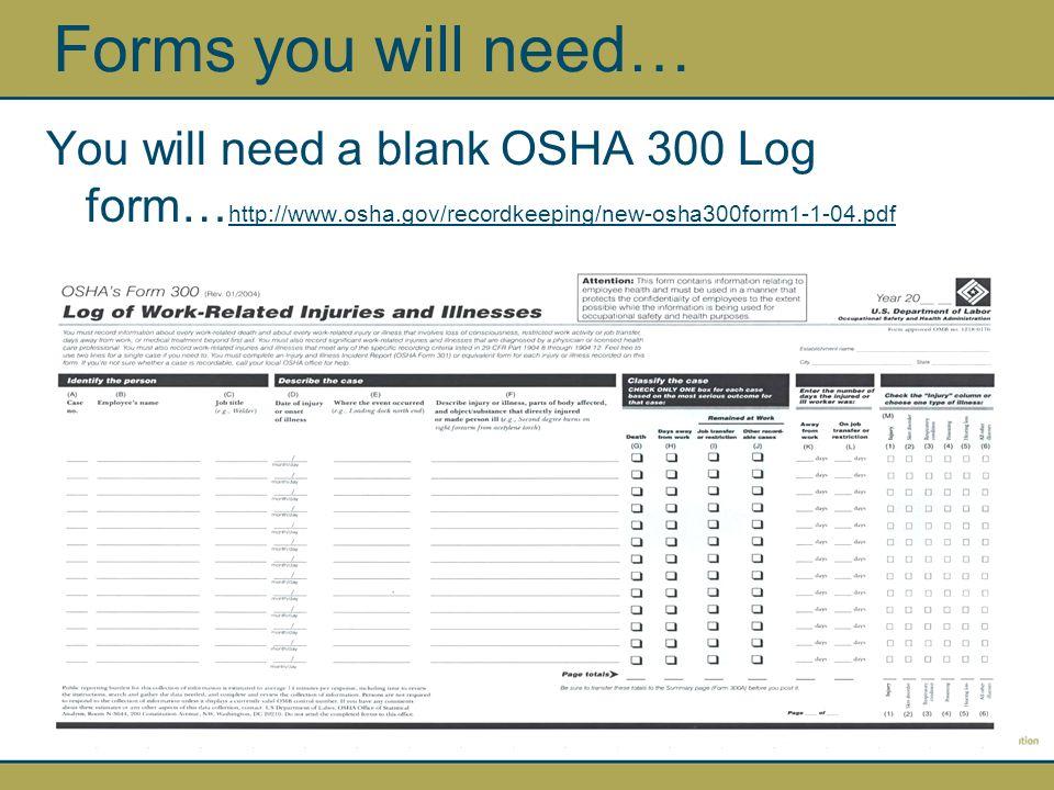 A blank OSHA 300A Summary Report form http://www.osha.gov/recordkeeping/new-osha300form1-1-04.pdf Forms you will need…