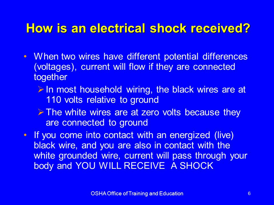 OSHA Office of Training and Education 17 Grounding Path The path to ground from circuits, equipment, and enclosures must be permanent and continuous Violation shown here is an extension cord with a missing grounding prong