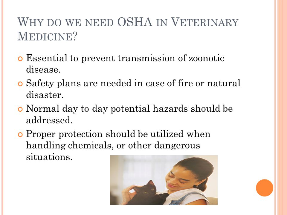 W HY DO WE NEED OSHA IN V ETERINARY M EDICINE .