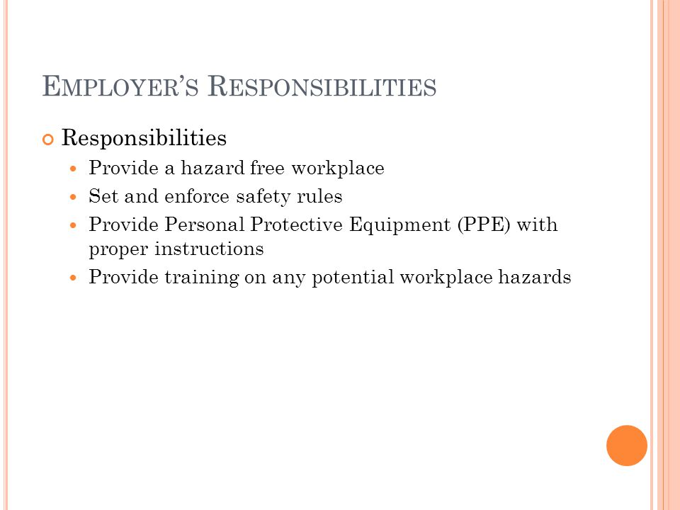 E MPLOYER ' S R ESPONSIBILITIES Responsibilities Provide a hazard free workplace Set and enforce safety rules Provide Personal Protective Equipment (PPE) with proper instructions Provide training on any potential workplace hazards