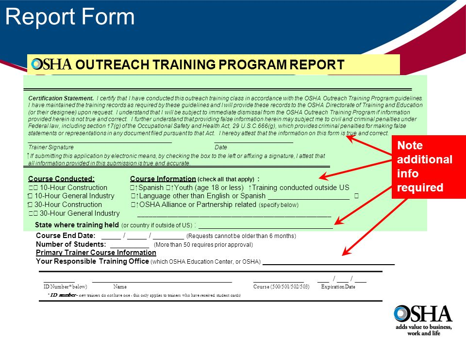 Report Form OUTREACH TRAINING PROGRAM REPORT ________ _________________________________________________ ___ / ___ / ___ ID Number* below)NameCourse (5
