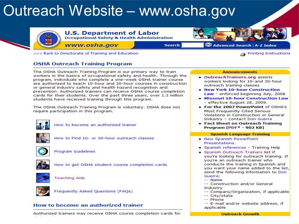 Outreach Website – www.osha.gov
