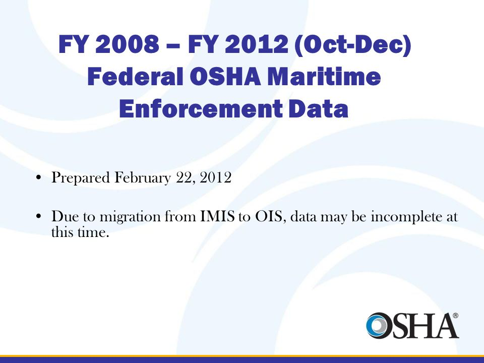 FY 2008 – FY 2012 (Oct-Dec) Federal OSHA Maritime Enforcement Data Prepared February 22, 2012 Due to migration from IMIS to OIS, data may be incomplete at this time.