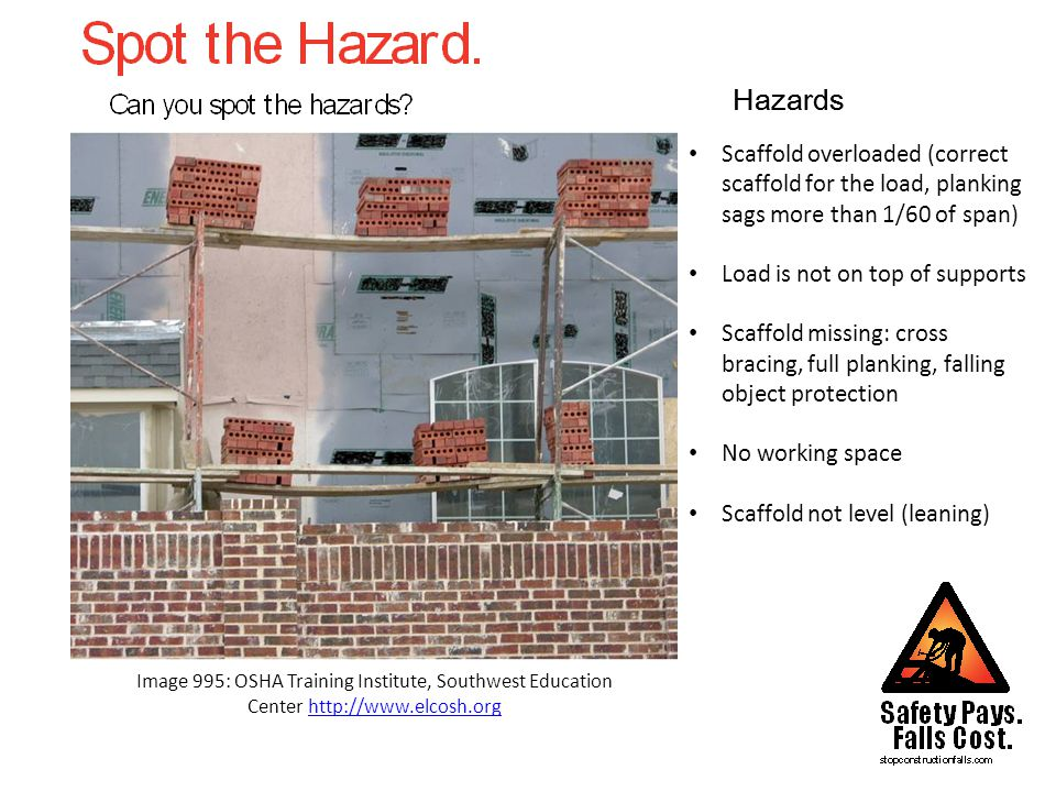 Hazards Image 226: NIOSH/John Rekus http://www.elcosh.orghttp://www.elcosh.org Scaffold missing: cross bracing, full planking, falling object protection Scaffold set up on top of unsecured excavation (no caution tape) Scaffold footing not properly braced Poor housekeeping Improper ladder use (less than 3 feet above the point of support, not secured) Ladder used is the top of an extention ladder, does not have feet