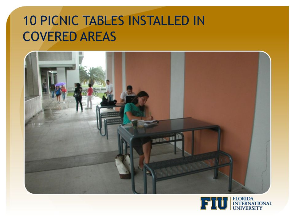 10 PICNIC TABLES INSTALLED IN COVERED AREAS