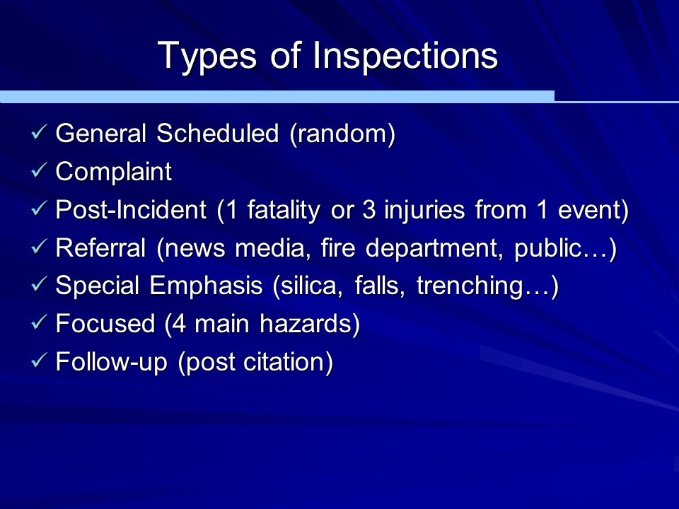 Types of Inspections General Scheduled (random) General Scheduled (random) Complaint Complaint Post-Incident (1 fatality or 3 injuries from 1 event) P