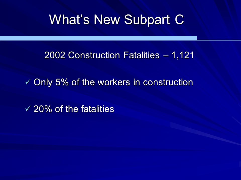 What's New Subpart C 2002 Construction Fatalities – 1,121 Only 5% of the workers in construction Only 5% of the workers in construction 20% of the fat