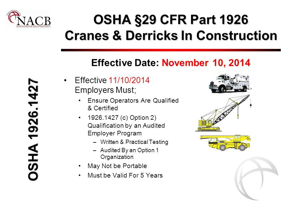 OSHA §29 CFR Part 1926 Cranes & Derricks In Construction Effective Date: November 10, 2014 Effective 11/10/2014 Employers Must; Ensure Operators Are Q