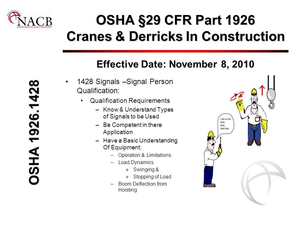 OSHA §29 CFR Part 1926 Cranes & Derricks In Construction Effective Date: November 8, 2010 1428 Signals –Signal Person Qualification: Qualification Req