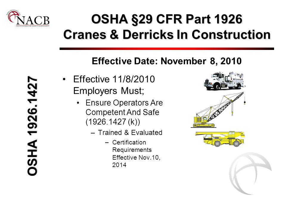 OSHA §29 CFR Part 1926 Cranes & Derricks In Construction Effective Date: November 8, 2010 Effective 11/8/2010 Employers Must; Ensure Operators Are Com