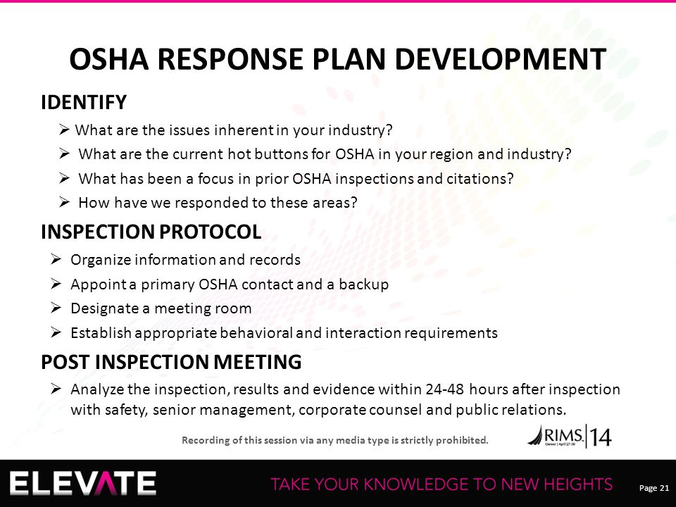 Page 21 Recording of this session via any media type is strictly prohibited. OSHA RESPONSE PLAN DEVELOPMENT IDENTIFY  What are the issues inherent in