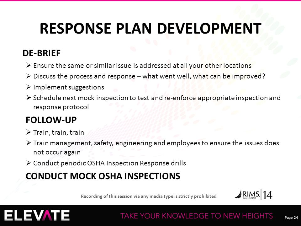 Page 24 Recording of this session via any media type is strictly prohibited. RESPONSE PLAN DEVELOPMENT DE-BRIEF  Ensure the same or similar issue is