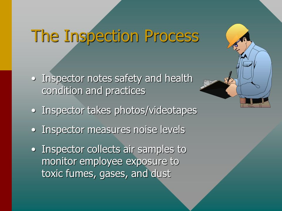 The Inspection Process Inspector notes safety and health condition and practicesInspector notes safety and health condition and practices Inspector takes photos/videotapesInspector takes photos/videotapes Inspector measures noise levelsInspector measures noise levels Inspector collects air samples to monitor employee exposure to toxic fumes, gases, and dustInspector collects air samples to monitor employee exposure to toxic fumes, gases, and dust