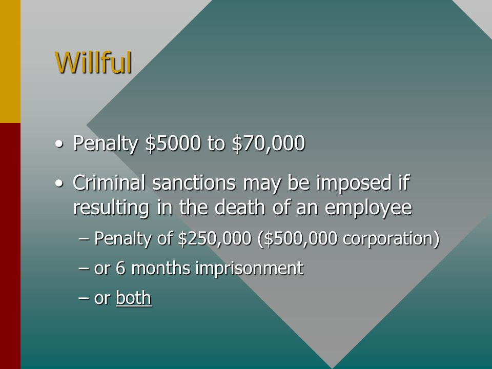 Willful Penalty $5000 to $70,000Penalty $5000 to $70,000 Criminal sanctions may be imposed if resulting in the death of an employeeCriminal sanctions may be imposed if resulting in the death of an employee –Penalty of $250,000 ($500,000 corporation) –or 6 months imprisonment –or both