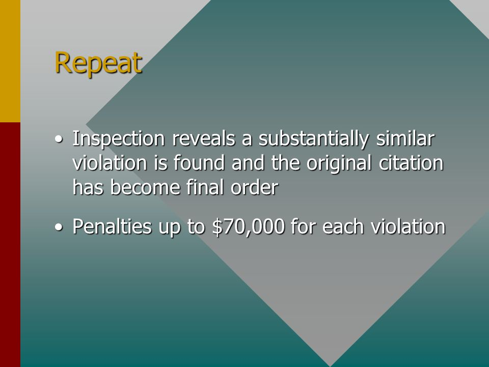 Repeat Inspection reveals a substantially similar violation is found and the original citation has become final orderInspection reveals a substantially similar violation is found and the original citation has become final order Penalties up to $70,000 for each violationPenalties up to $70,000 for each violation