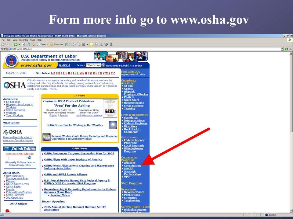 Form more info go to www.osha.gov