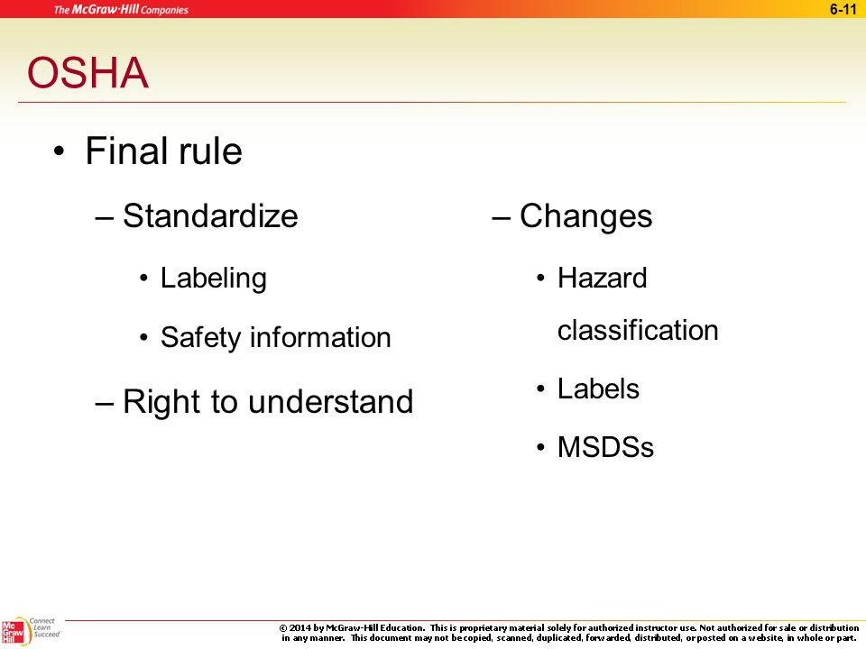 6-10 OSHA Hazard Communication Biohazard labels Warning signs Material Safety Data Sheets (MSDSs) Hazard labels