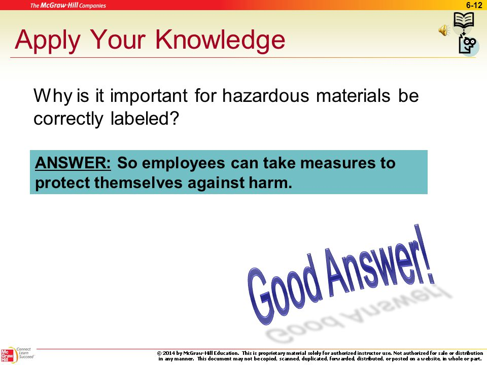 6-11 OSHA Final rule –Standardize Labeling Safety information –Right to understand –Changes Hazard classification Labels MSDSs