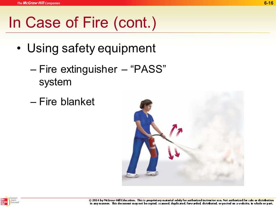 6-15 Fire Safety Many potential hazards in a medical office Fire Prevention –Hazards in the exam room –Office laboratory ~ open flame