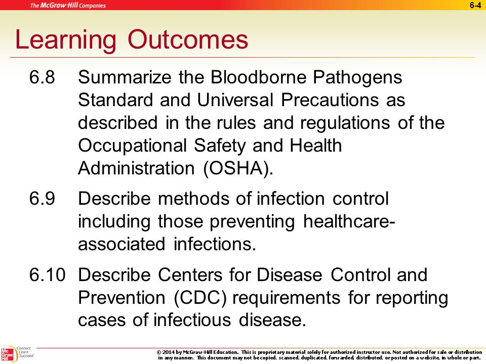 6-3 Learning Outcomes (cont.) 6.5 Summarize proper methods for handling and storing chemicals used in a medical office.