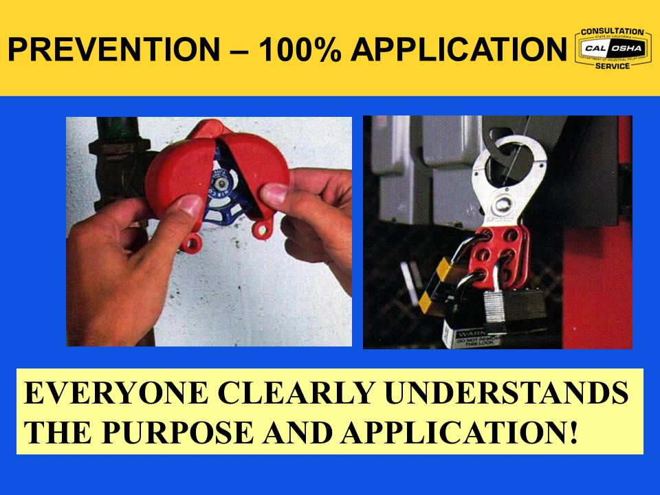 EVERYONE CLEARLY UNDERSTANDS THE PURPOSE AND APPLICATION! PREVENTION – 100% APPLICATION