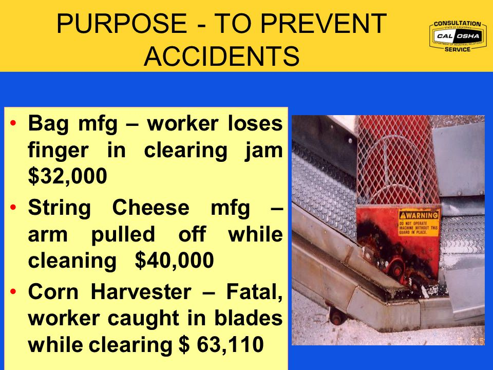 PURPOSE - TO PREVENT ACCIDENTS Bag mfg – worker loses finger in clearing jam $32,000 String Cheese mfg – arm pulled off while cleaning $40,000 Corn Harvester – Fatal, worker caught in blades while clearing $ 63,110 Certify Periodic Inspection