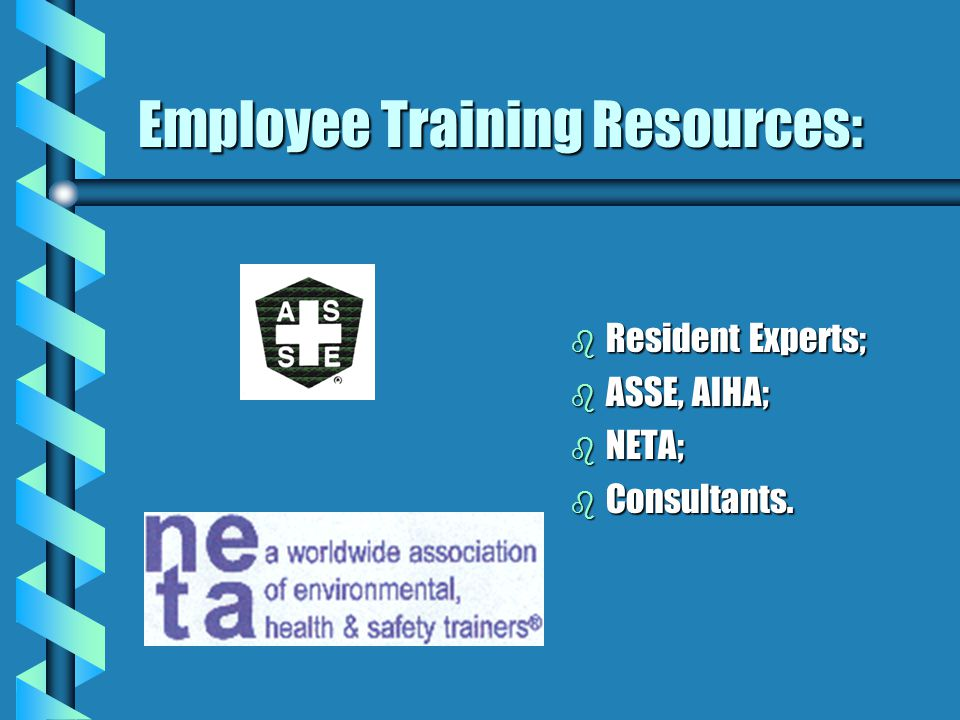 Employee Training Resources: b Resident Experts; b ASSE, AIHA; b NETA; b Consultants.