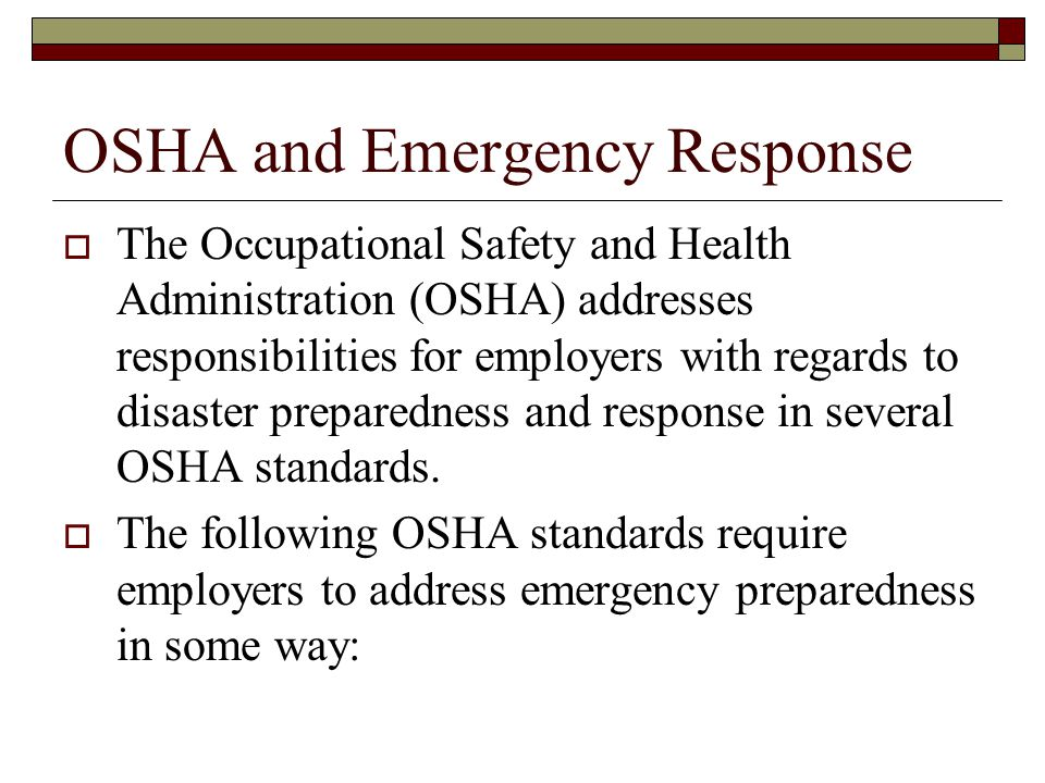 Fundamentals  29 CFR 1910.36 and 37 (emergency egress) Sufficient # for the occupancy Exit ways and access thereto are unobstructed Exit ways and access thereto are clearly marked Exit signs are visible at night Emergency lighting is supplied when needed OSHA is the authority having jurisdiction