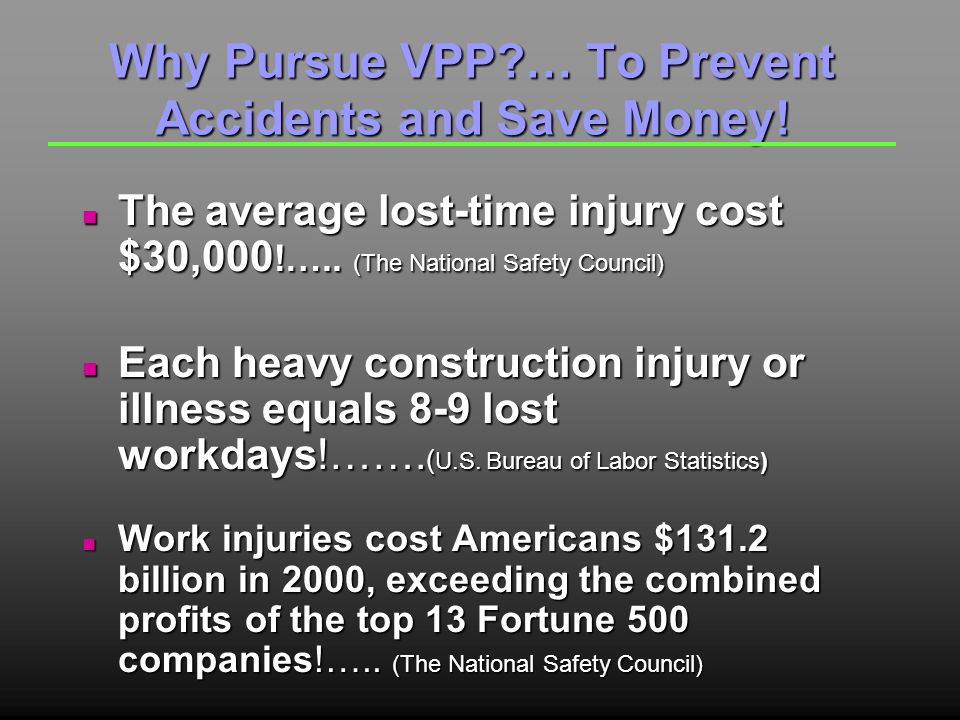 Why Pursue VPP … To Prevent Accidents and Save Money.