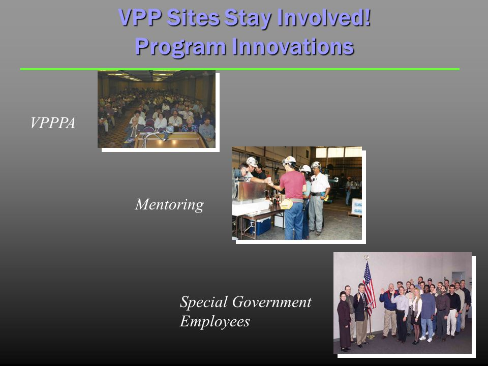 VPP Sites Stay Involved! Program Innovations Mentoring Special Government Employees VPPPA