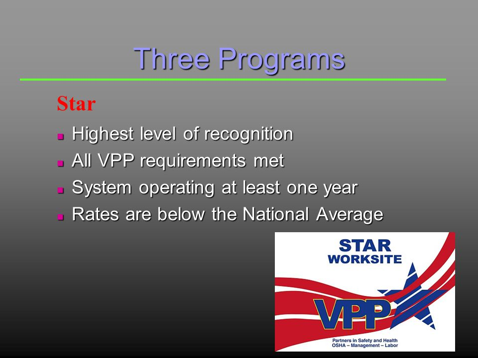 Three Programs n Elements and sub-elements in place n Systems may not all be at Star quality n Rates may be above the National Average n Limited to one 3-year term Merit