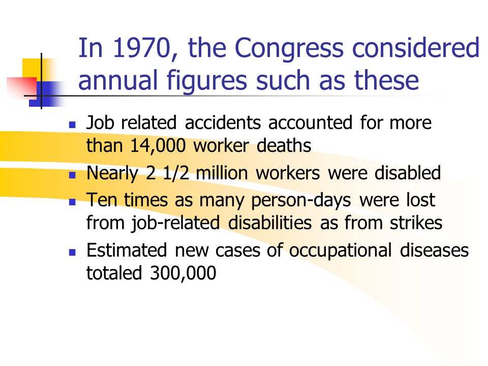 In 1970, the Congress considered annual figures such as these Job related accidents accounted for more than 14,000 worker deaths Nearly 2 1/2 million