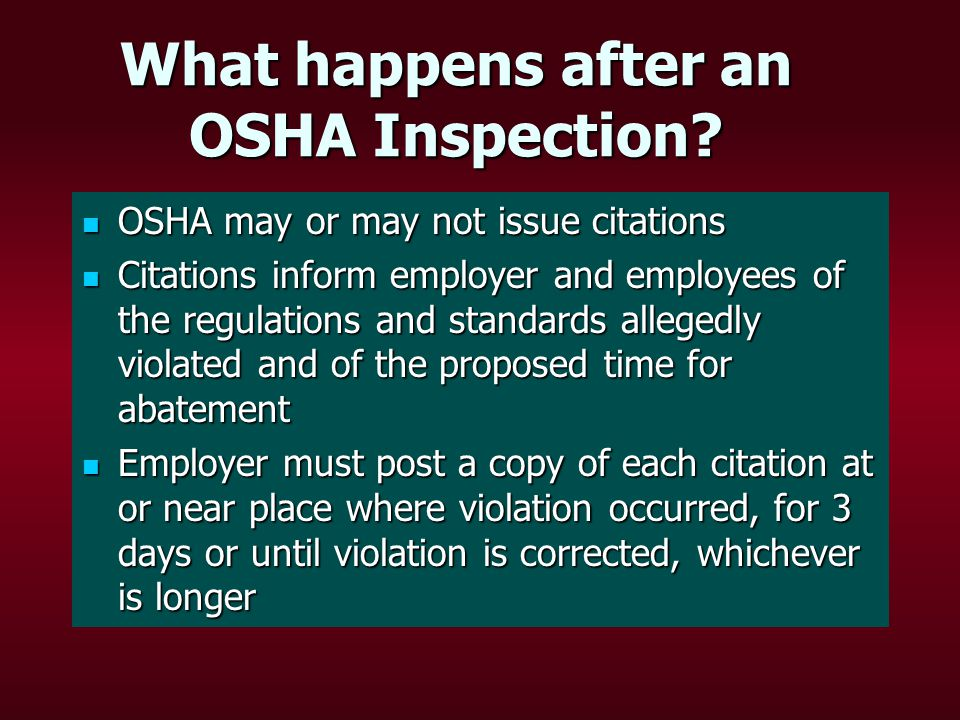 What happens after an OSHA Inspection.