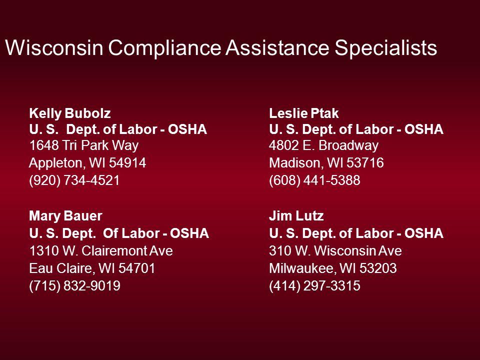 Wisconsin Compliance Assistance Specialists Kelly BubolzLeslie Ptak U.