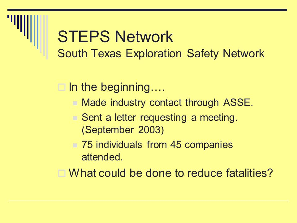 STEPS Network South Texas Exploration Safety Network  In the beginning…. Made industry contact through ASSE. Sent a letter requesting a meeting. (Sep