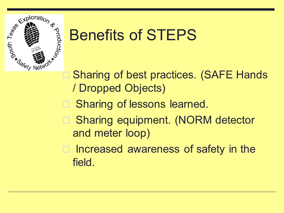 Benefits of STEPS  Sharing of best practices. (SAFE Hands / Dropped Objects)  Sharing of lessons learned.  Sharing equipment. (NORM detector and me